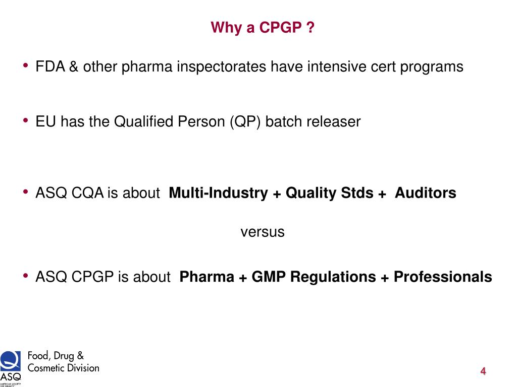Why a CPGP ?
