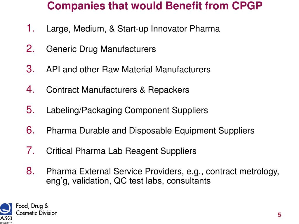 Companies that would Benefit from CPGP