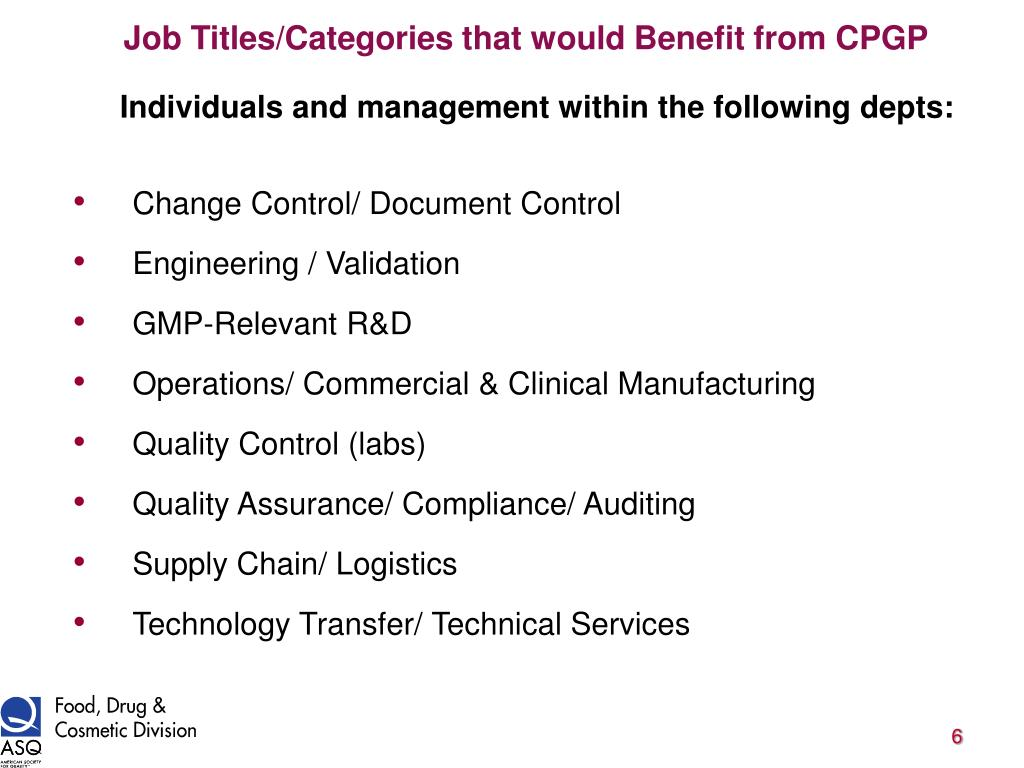 Job Titles/Categories that would Benefit from CPGP