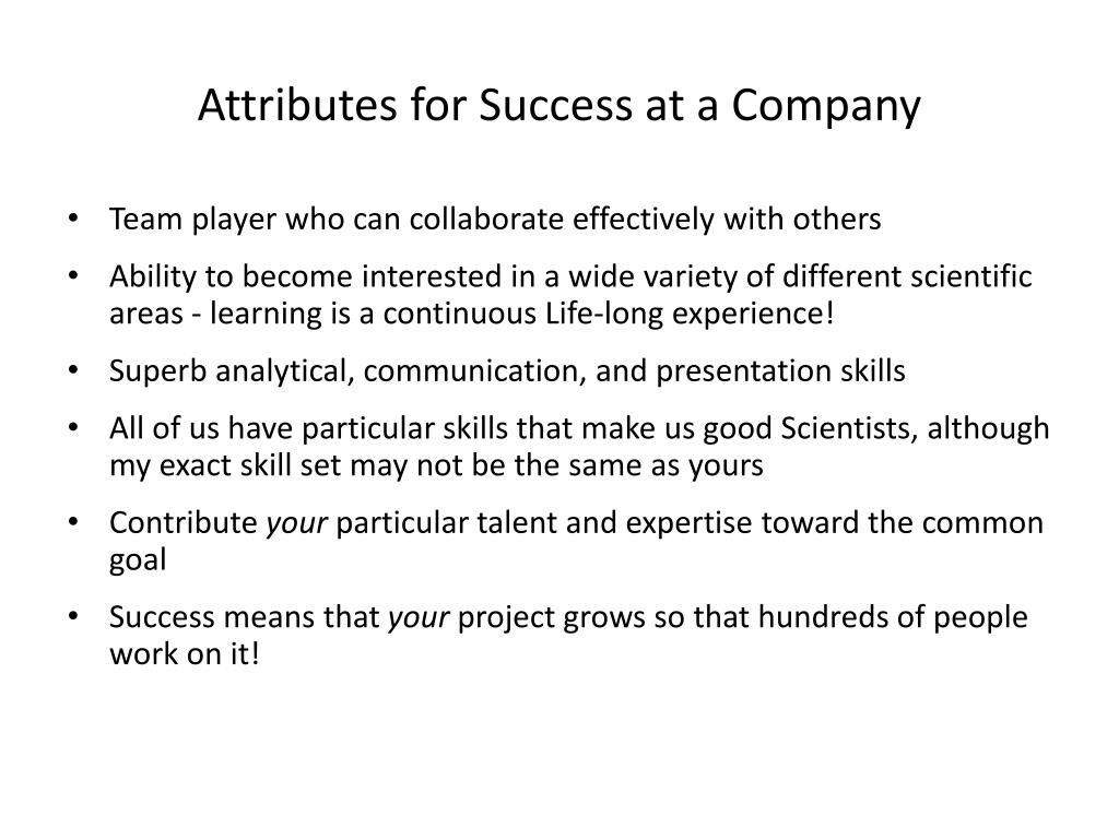 Attributes for Success at a Company