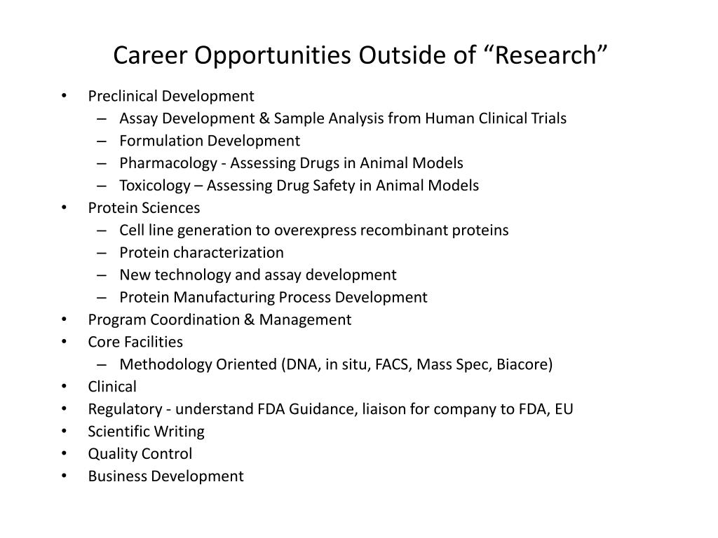 "Career Opportunities Outside of ""Research"""