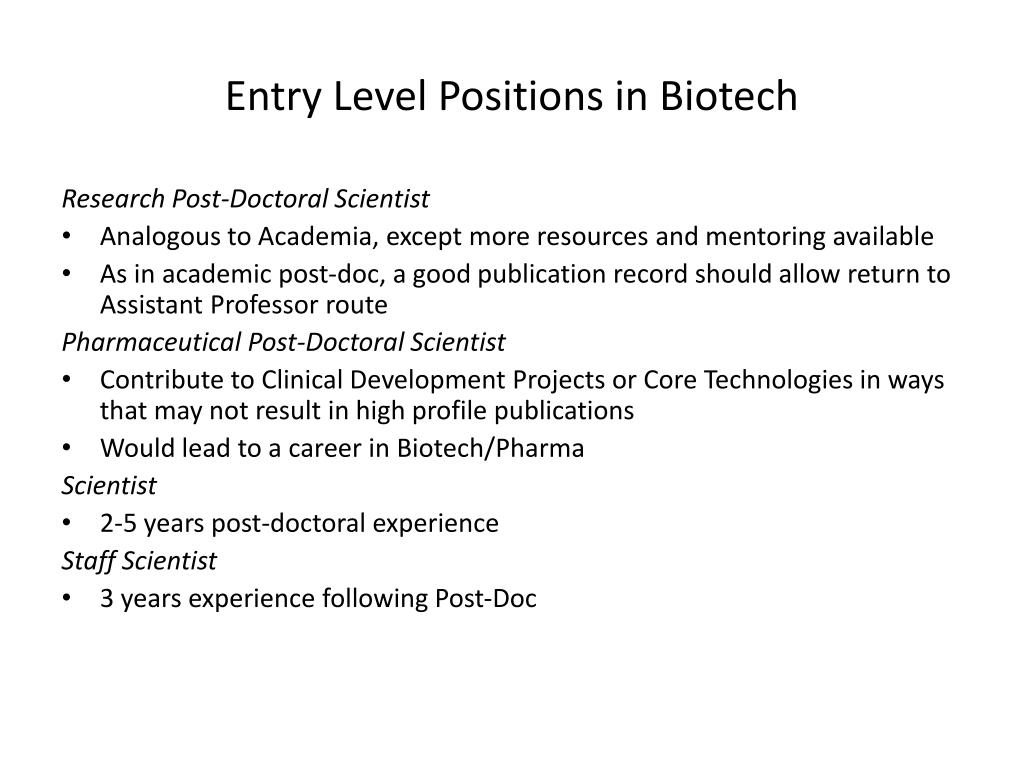 Entry Level Positions in Biotech