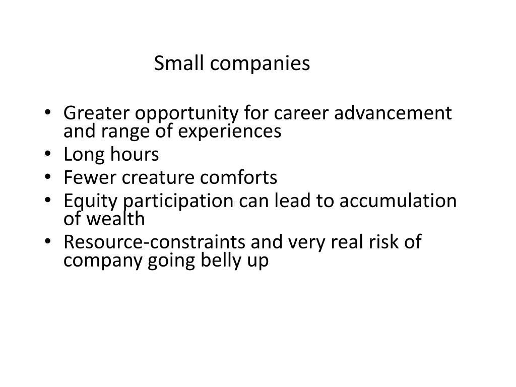 Small companies