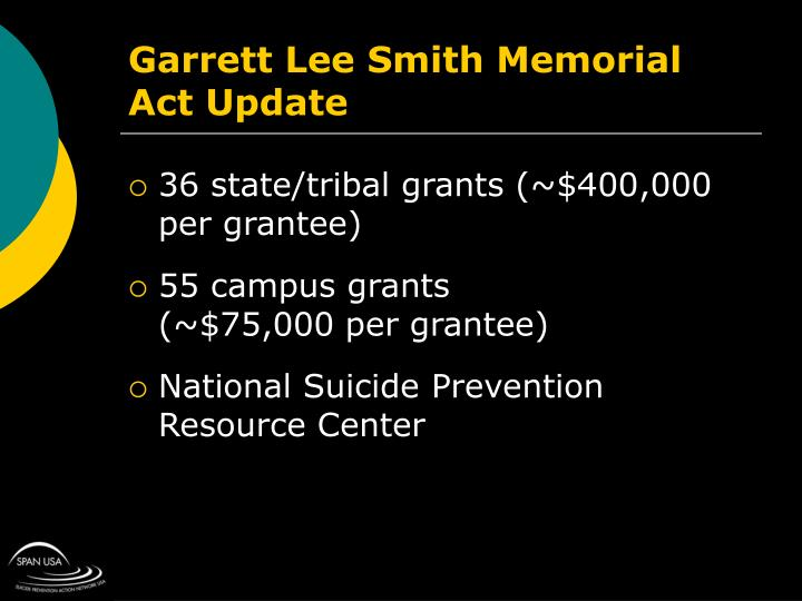 Garrett Lee Smith Memorial Act Update