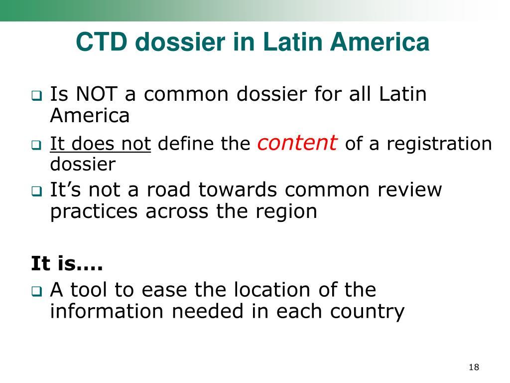 CTD dossier in Latin America