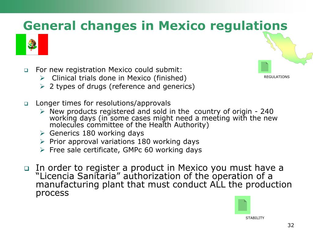 General changes in Mexico regulations