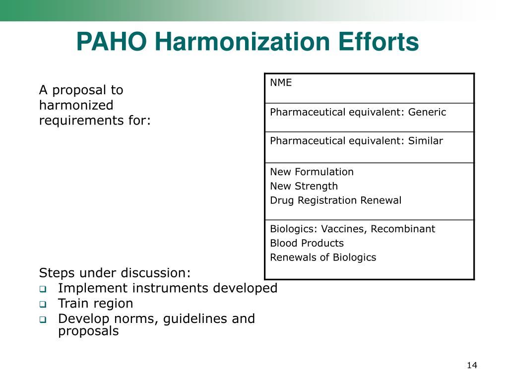 PAHO Harmonization Efforts