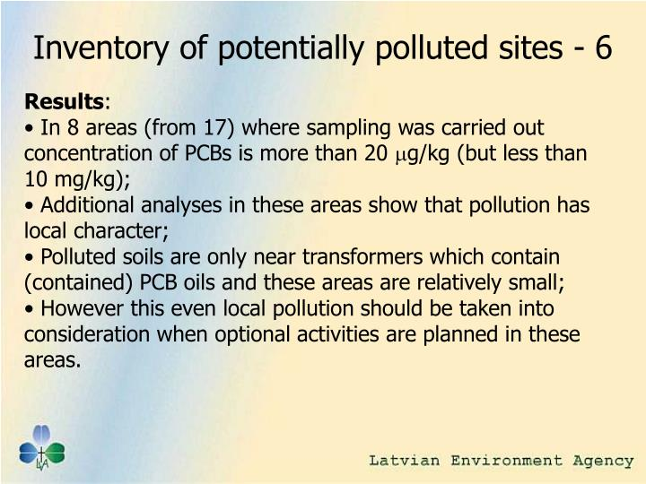 Inventory of potentially polluted sites