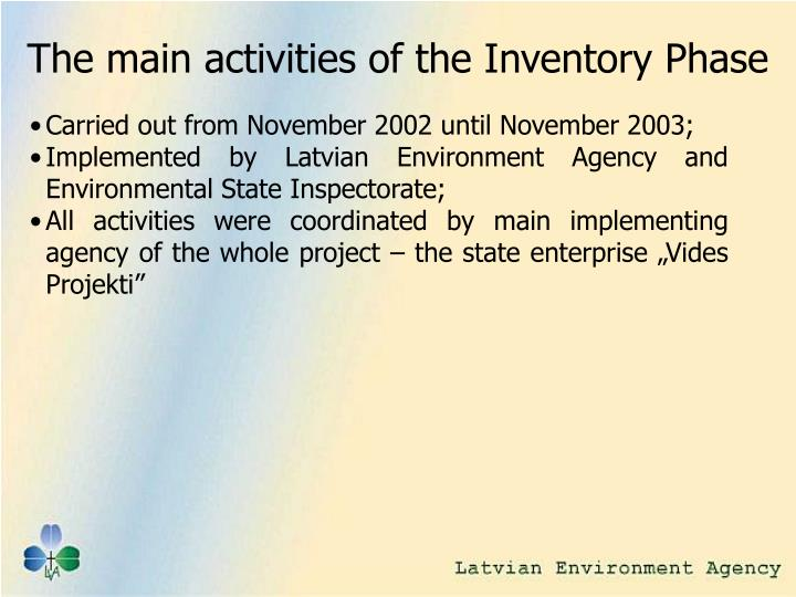 The main activities of the Inventory Phase
