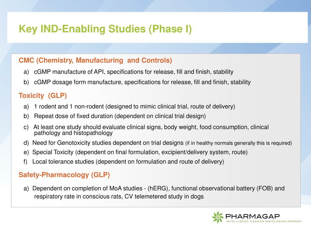 Key IND-Enabling Studies (Phase I)