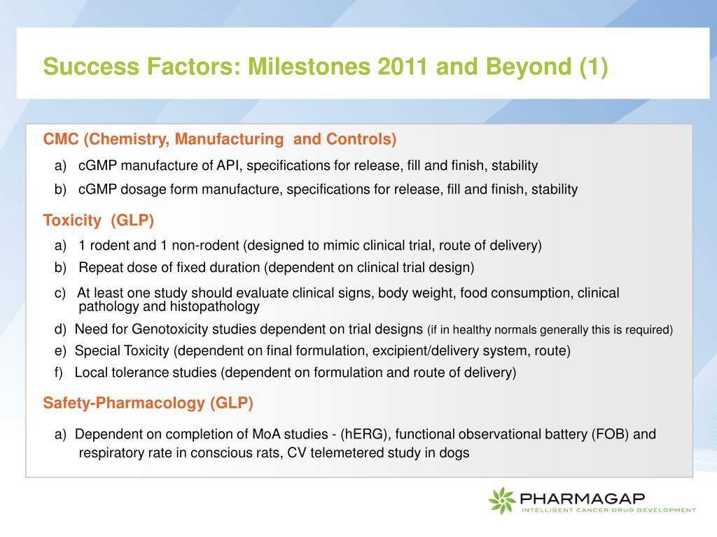Success Factors: Milestones 2011 and Beyond (1)