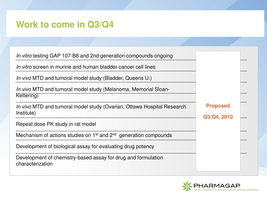 Work to come in Q3/Q4