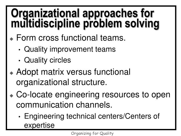 problem solving approach to the care Pdca stands for plan-do-check-act – a four-stage problem-solving model that enables organizations to continually problem-solving approaches plan-do-check-act.