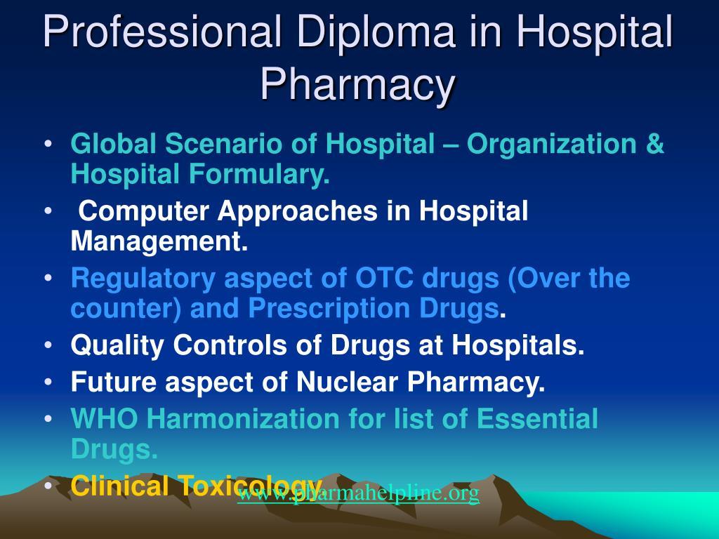 Professional Diploma in Hospital Pharmacy