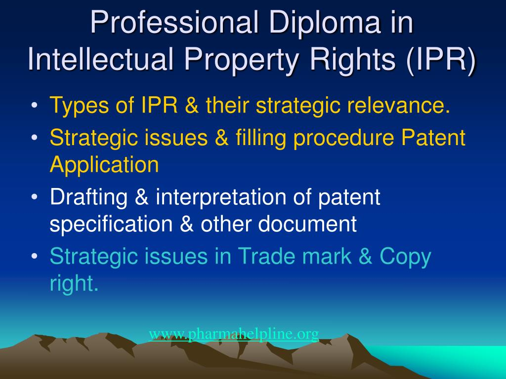 Professional Diploma in Intellectual Property Rights (IPR)