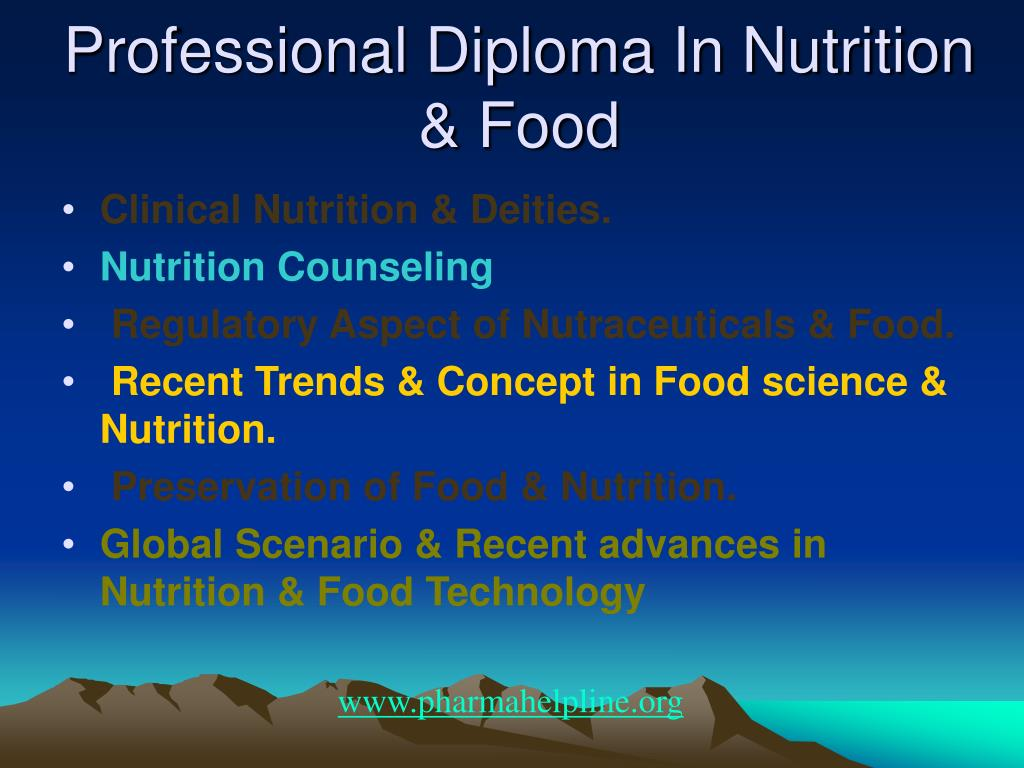 Professional Diploma In Nutrition & Food
