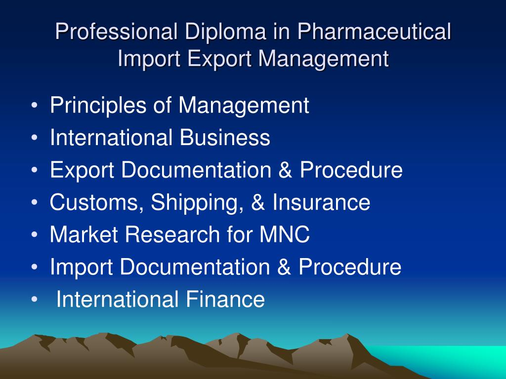 Professional Diploma in Pharmaceutical Import Export Management
