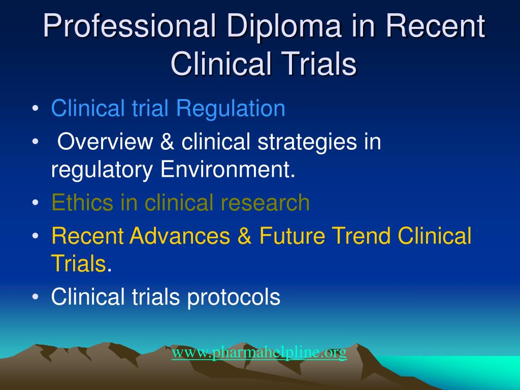 Professional Diploma in Recent Clinical Trials