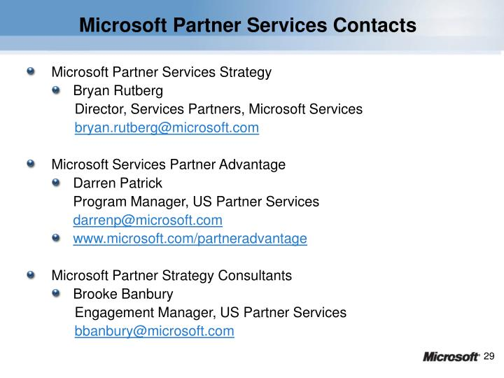Microsoft Partner Services Contacts