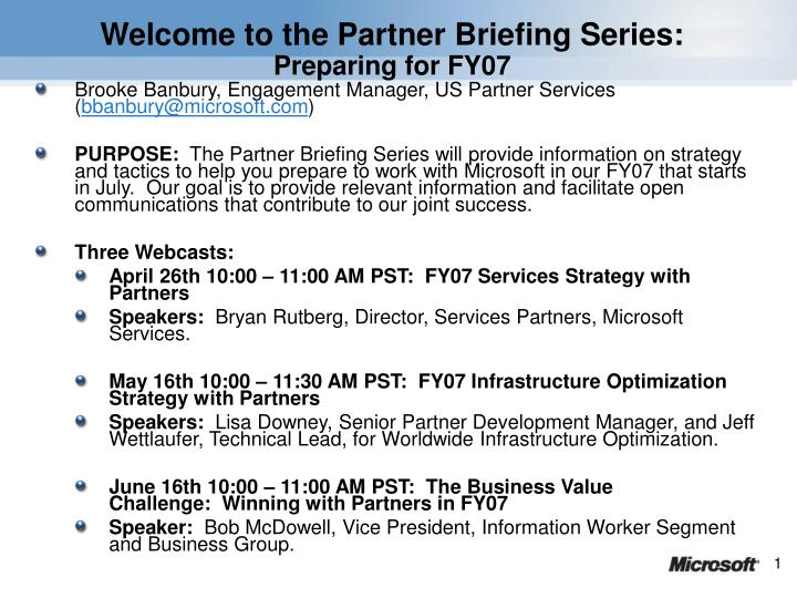 Welcome to the Partner Briefing Series: