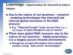 learnings opportunities for internet2 to make it happen