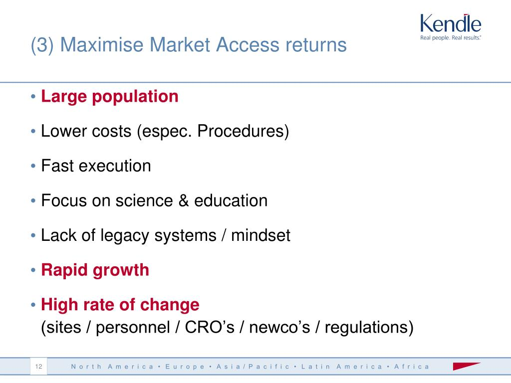 (3) Maximise Market Access returns