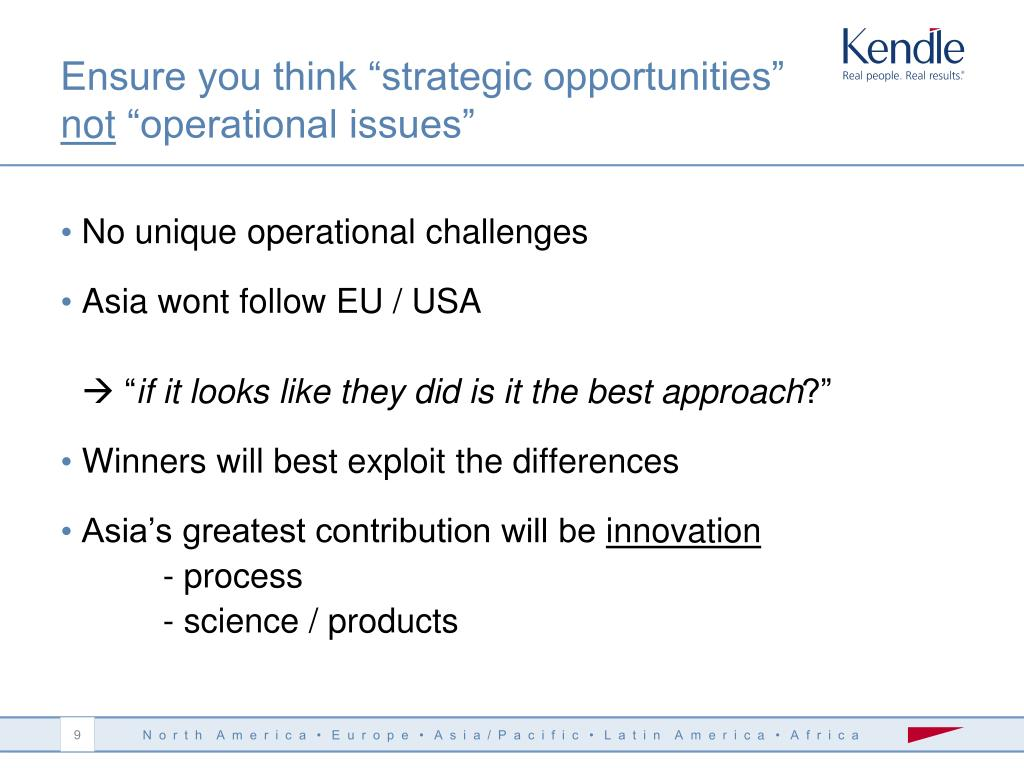 "Ensure you think ""strategic opportunities"""