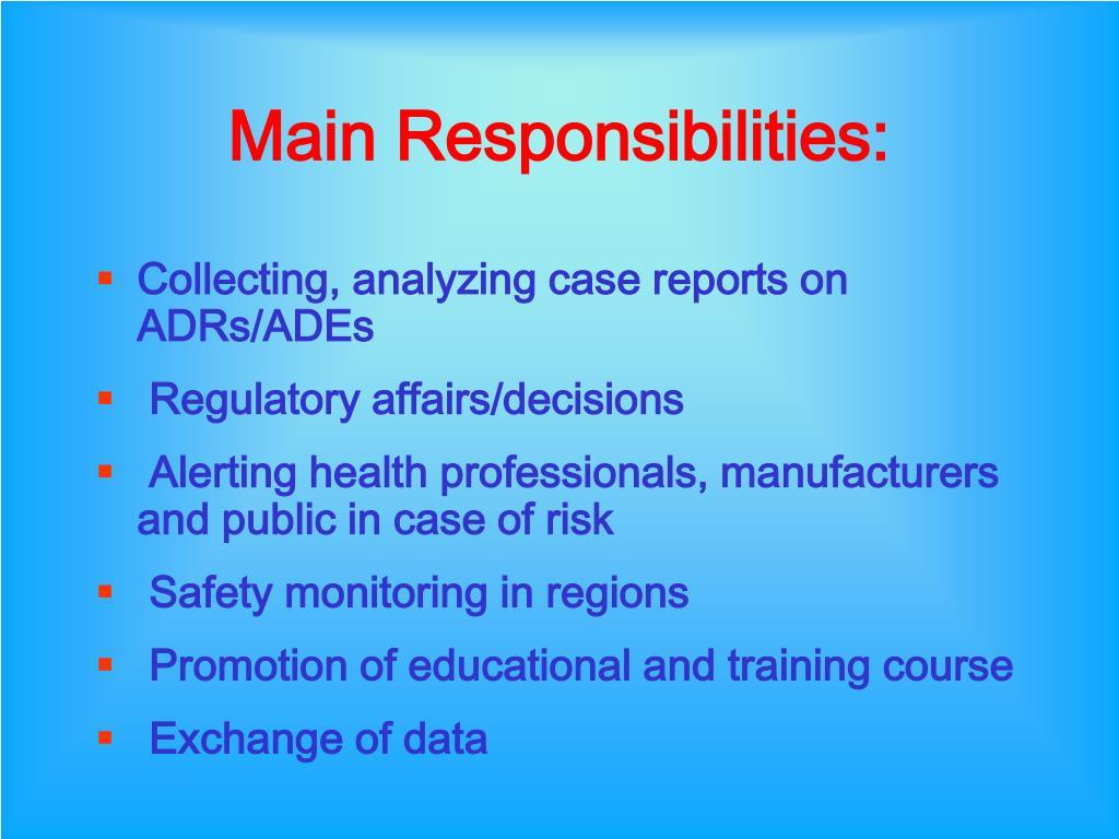 Main Responsibilities: