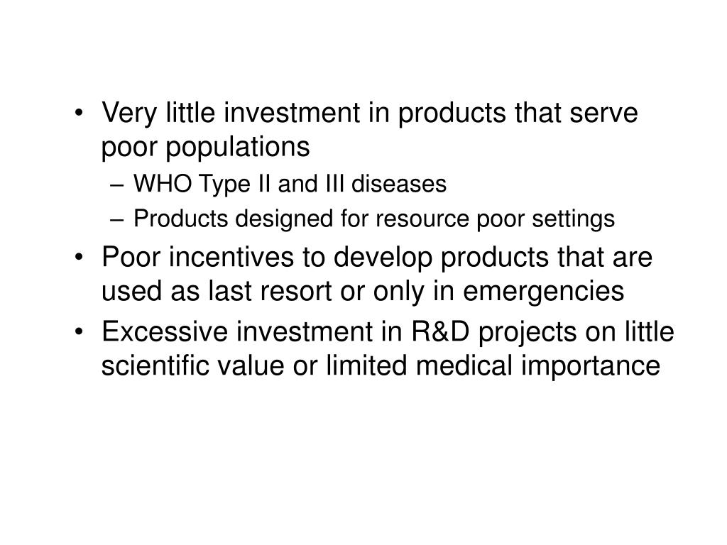 Very little investment in products that serve poor populations