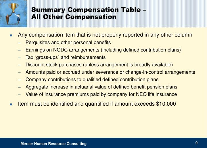 Summary Compensation Table –