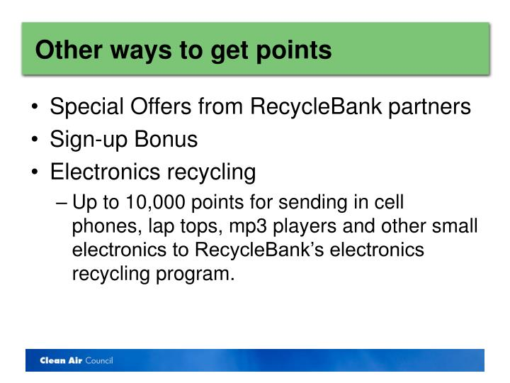 Other ways to get points