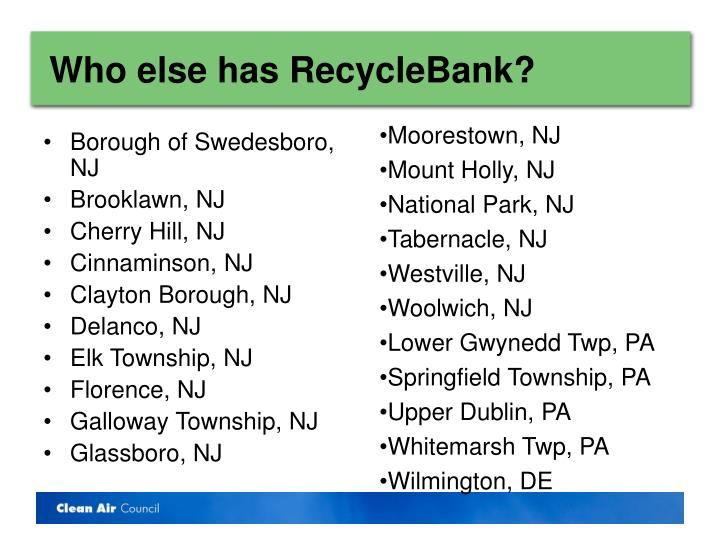 Who else has RecycleBank?