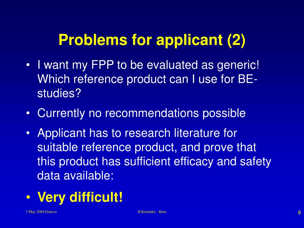 Problems for applicant (2)