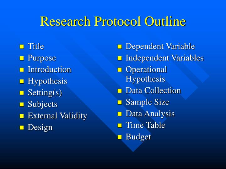 Research protocol outline