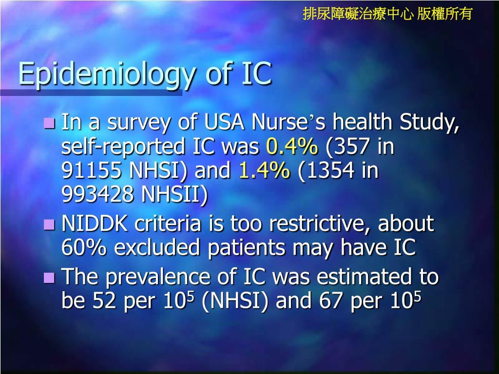 Epidemiology of IC