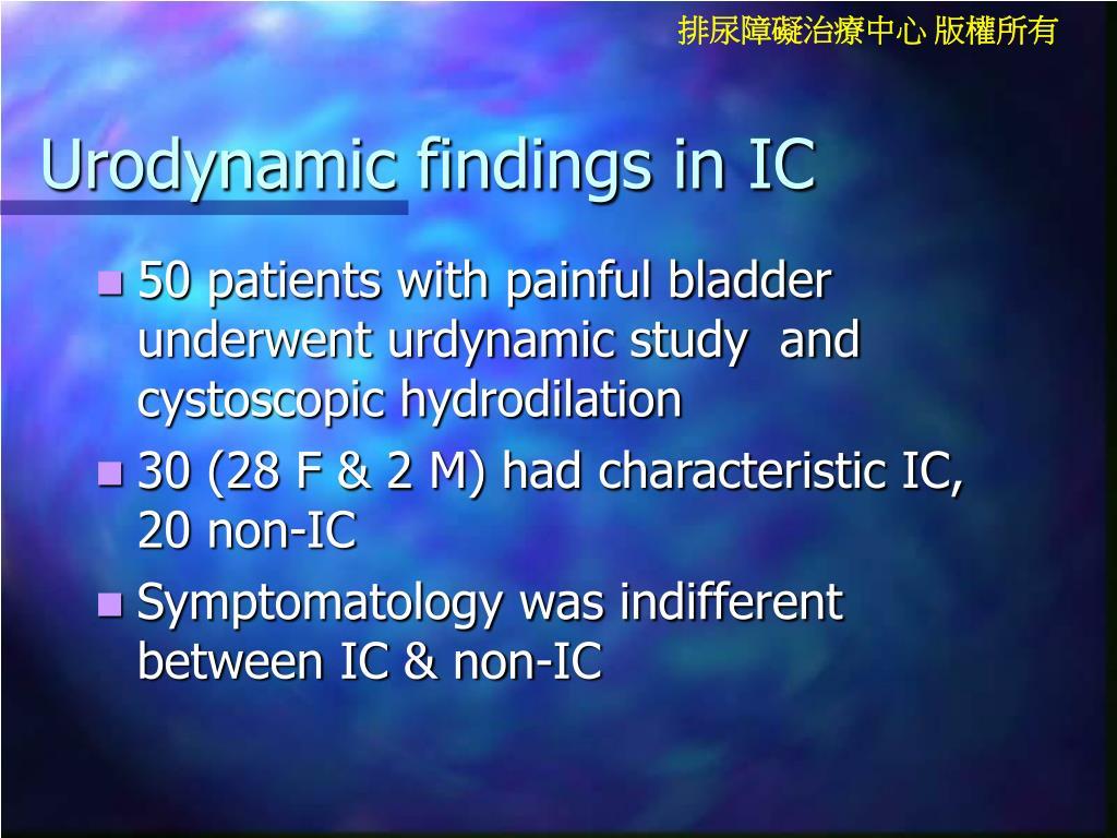 Urodynamic findings in IC