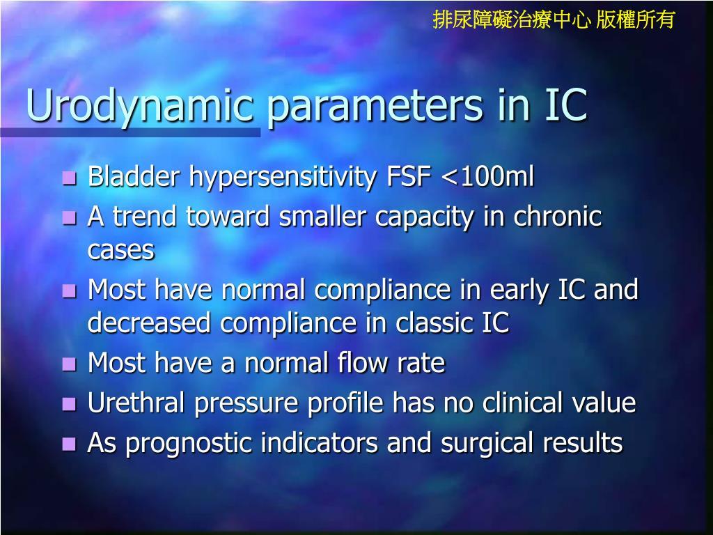 Urodynamic parameters in IC