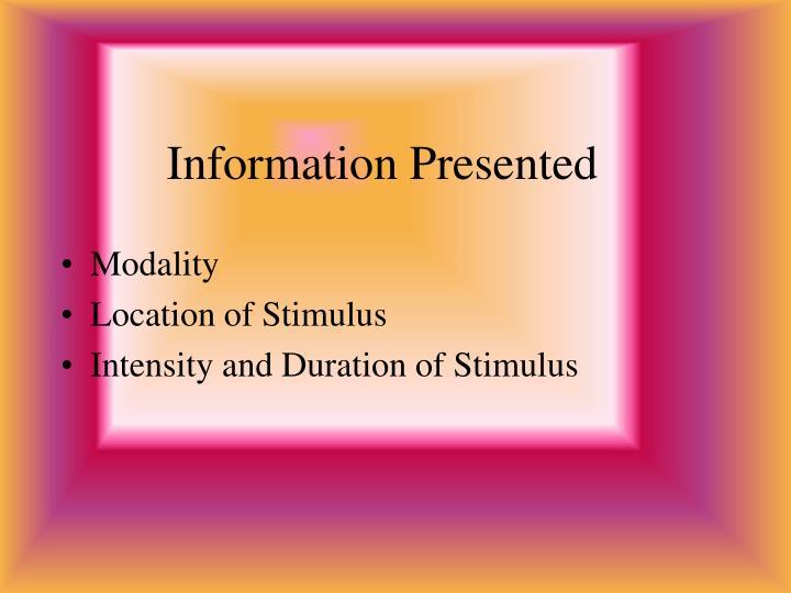 Information Presented