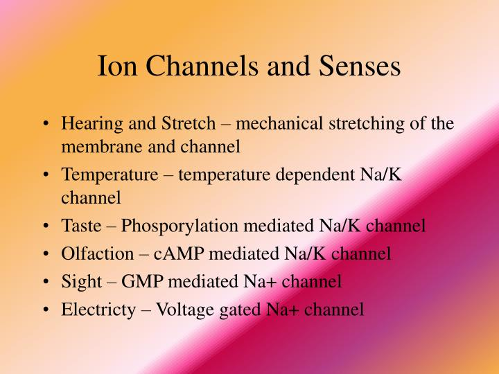 Ion Channels and Senses