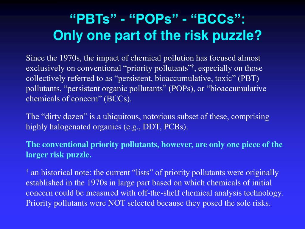 """""""PBTs"""" - """"POPs"""" - """"BCCs"""":"""