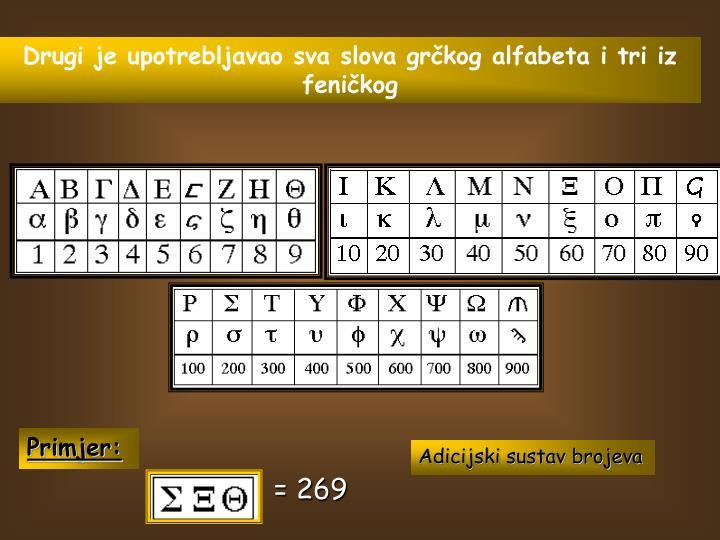 Drugi je upotrebljavao sva slova grčkog alfabeta i tri iz