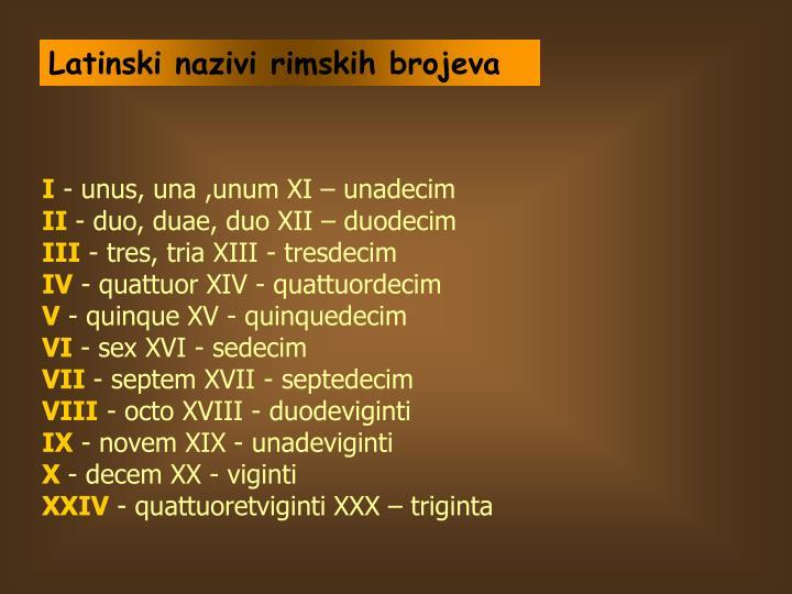 Latinski nazivi rimskih brojeva