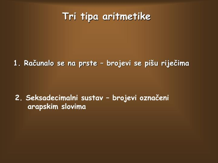 Tri tipa aritmetike