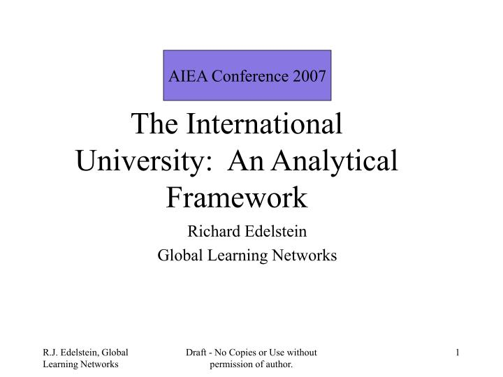 The international university an analytical framework
