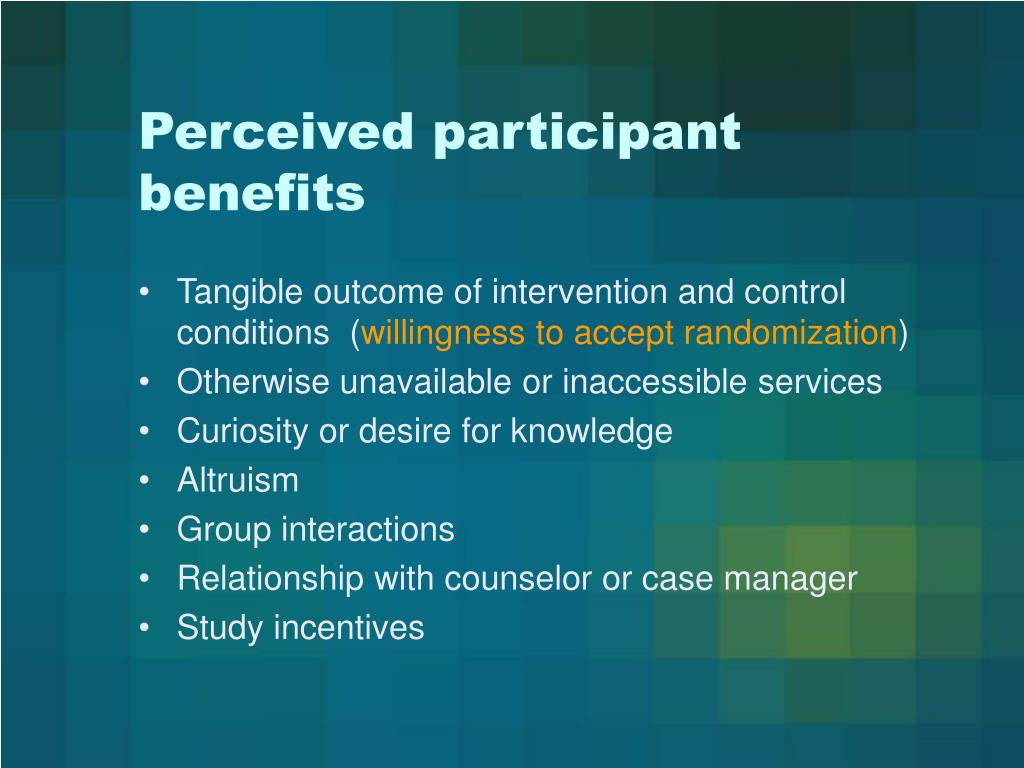 Perceived participant benefits