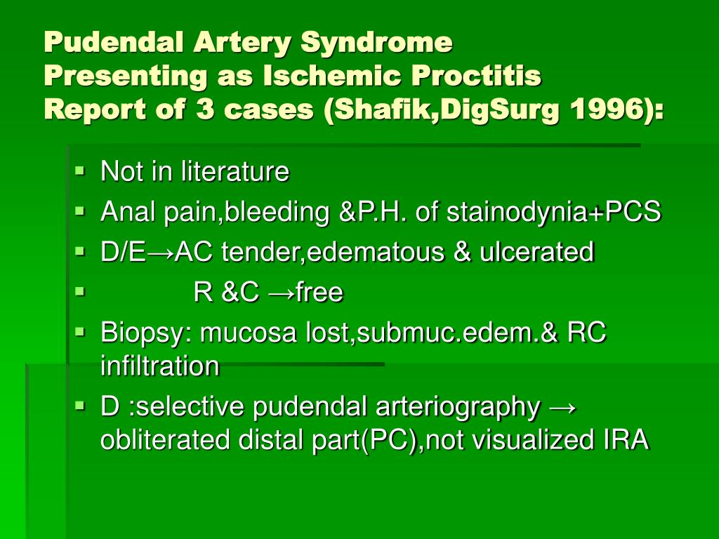 Pudendal Artery Syndrome