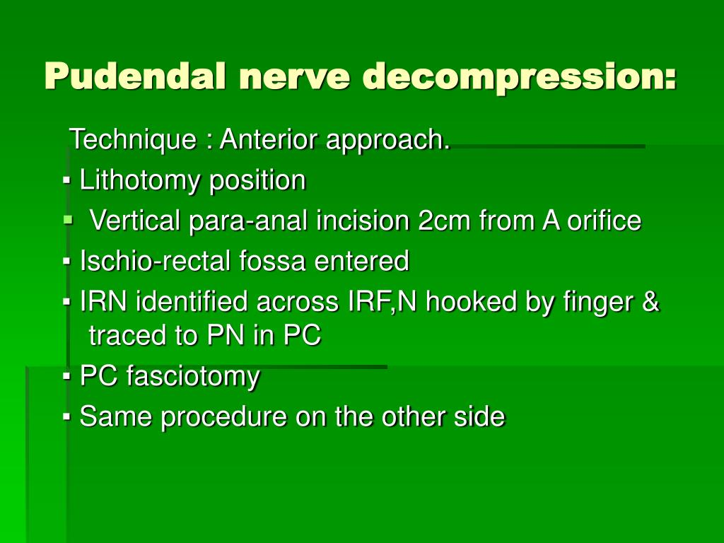 Pudendal nerve decompression: