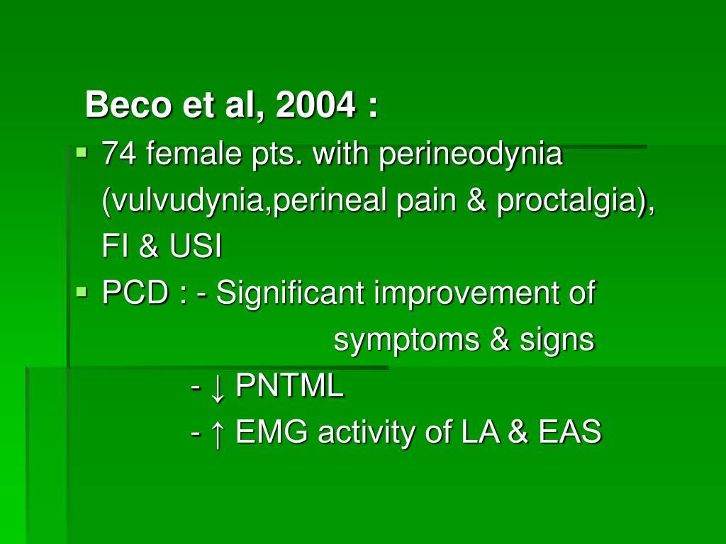 Beco et al, 2004 :