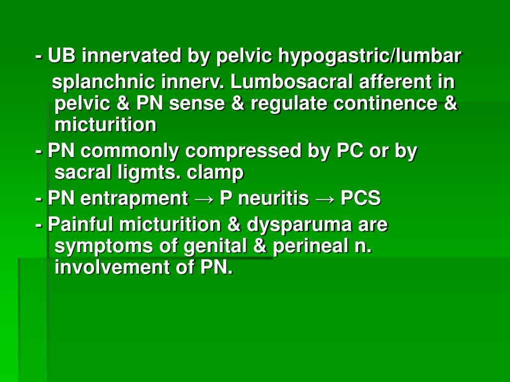 - UB innervated by pelvic hypogastric/lumbar