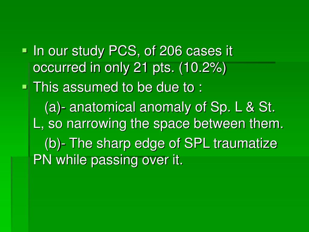 In our study PCS, of 206 cases it occurred in only 21 pts. (10.2%)